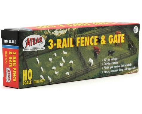 "Atlas Railroad HO-Scale 72"" Rustic Fence & Gate Kit"