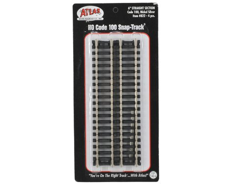 "Atlas Railroad HO-Gauge Code 100 Snap-Track 6"" Straight (4)"