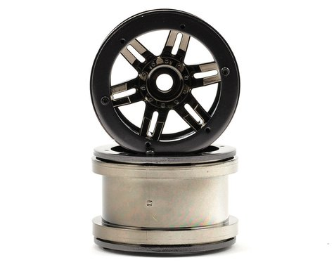 Axial Rockster 2.2 Beadlock Rock Crawler Wheels (2) (Black Chrome)