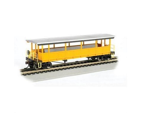 Bachmann Unlettered Open Sided Excursion Car (Silver/Yellow) (HO Scale)