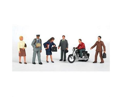 Bachmann SceneScapes City People with Motorcycle (7) (HO Scale)