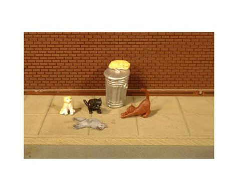 Bachmann SceneScapes Cats with Garbage Can (6) (O Scale)