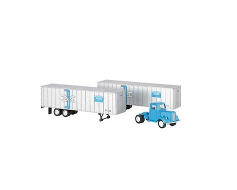 Bachmann Boston & Maine Blue Truck Cab & 2 Piggyback Trailer (HO Scale)