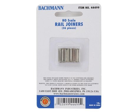 Bachmann E-Z Track Rail Joiners (36) (Nickel Silver) (HO Scale)