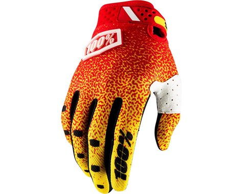 100% Ridefit Full Finger Glove (Red/Yellow)