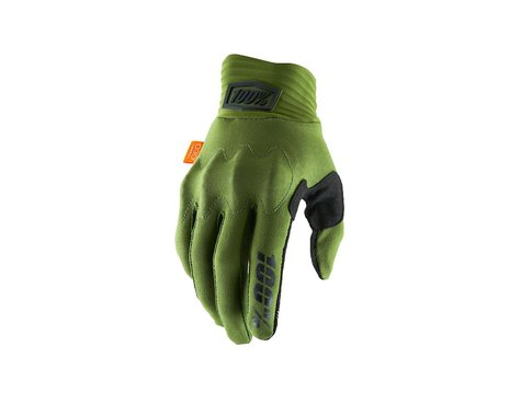 100% Cognito D30 Full Finger Gloves (Army Green/Black) (S)