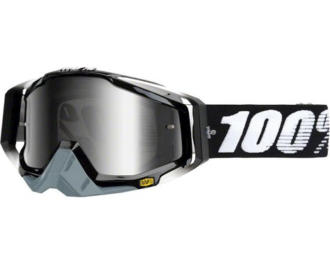100% Racecraft Goggles (Abyss Black) (Mirror Silver Lens) (Spare Clear Lens)