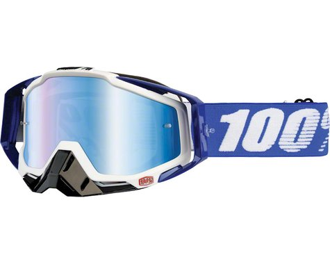 100% Racecraft Goggles (Cobalt Blue) (Mirror Blue Lens) (Spare Clear Lens)