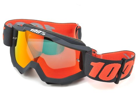 100% Accuri Goggle, Gunmetal with Mirror Red Lens, Spare Clear Lens Included