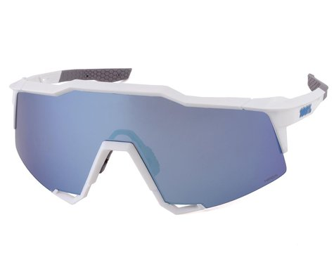 100% SpeedCraft Sunglasses (Matte White) (HiPER Blue Multilayer Mirror Lens)