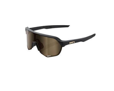 100% S2 Sunglasses (Matte Black) (Flash Gold Lens)