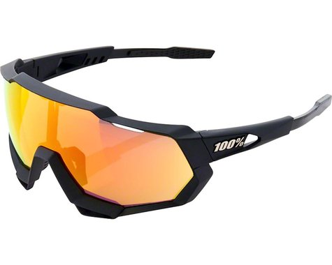 100% SpeedTrap Sunglasses: Soft Tact Black Frame with HiPER Red Multilayer Mirro