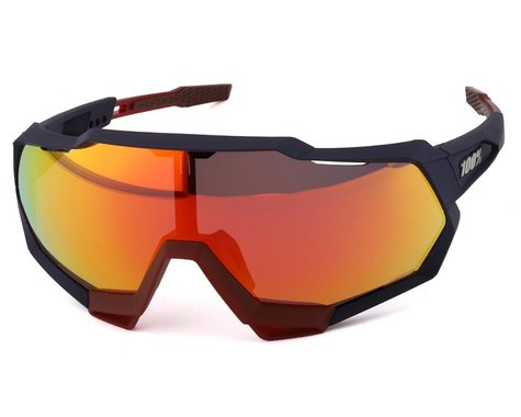 100% Speedtrap Sunglasses (Soft Tact Flume) (HiPER Red Multilayer Mirror Lens)