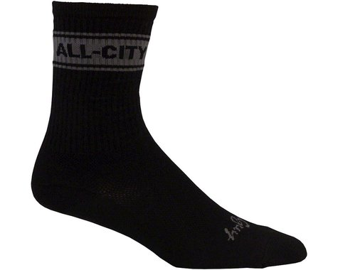 All-City Fast is Forever Mid Sock (Black/Gray) (L)