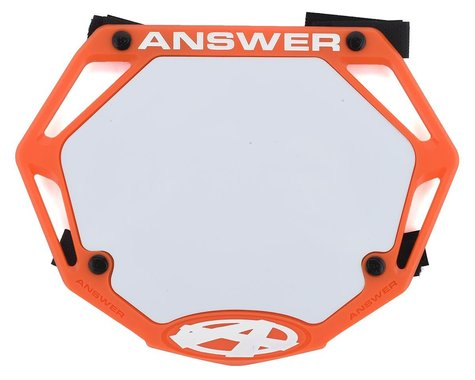 Answer 3D BMX Number Plate (Orange) (Mini)