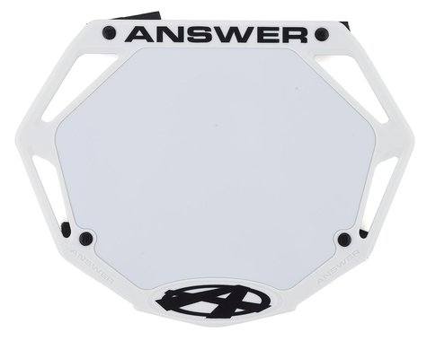 Answer 3D BMX Number Plate (White) (Pro)
