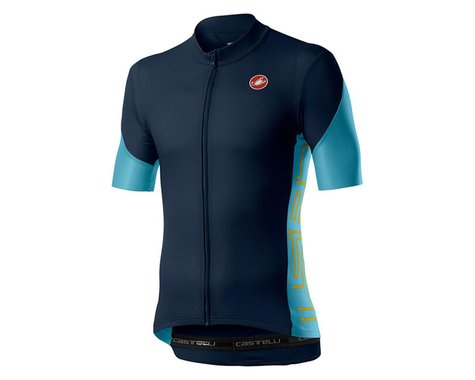 Castelli Entrata V Short Sleeve Jersey (Savile Blue) (XL)