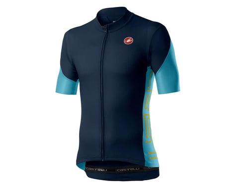 Castelli Entrata V Short Sleeve Jersey (Savile Blue) (2XL)