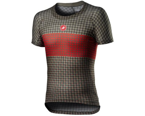 Castelli Pro Mesh M Short Sleeve Base Layer (Bark Green/Fiery Red) (M)