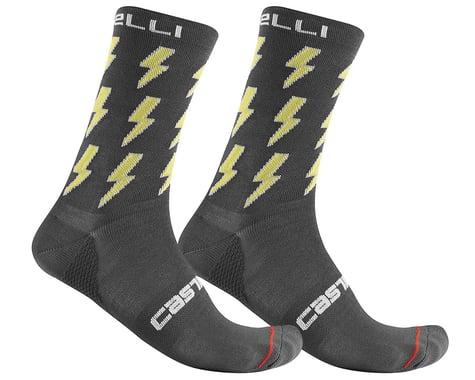 Castelli Men's Pazzo 18 Socks (Dark Grey/Yellow) (L/XL)