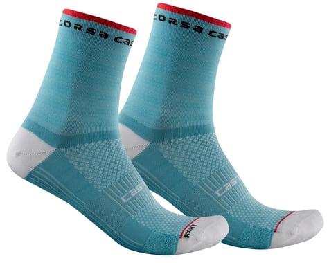 Castelli Rosso Corsa 11 Women's Sock (Celeste) (L/XL)