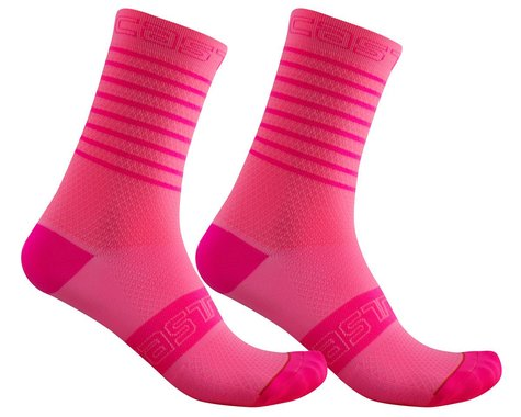 Castelli Superleggera 12 Women's Sock (Pink Fluo) (L/XL)