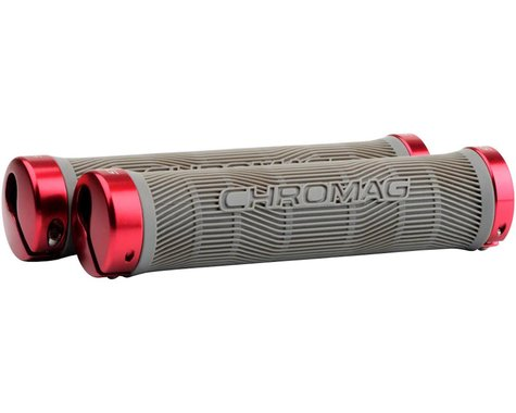 Chromag Palmskin Grips (Grey/Red) (Lock-On)
