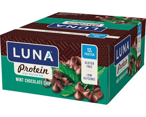 Clif Bar Luna Protein Bar (Mint Chocolate Chip) (12) (12 1.59oz Packets)
