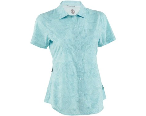 Club Ride Apparel Women's Camas Short Sleeve Jersey (Angel Blue Print) (L)