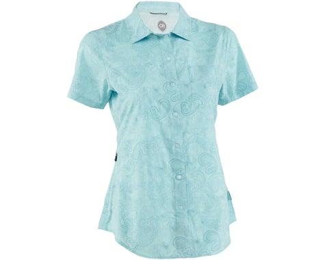 Club Ride Apparel Women's Camas Short Sleeve Jersey (Angel Blue Print) (XL)