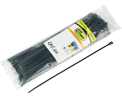 "Cobra Ties 11"" x 45lb (280 x 3.5mm) Low Profile Cobra Ties, Black, Bag of 100"