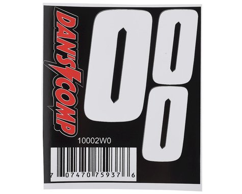 "Dan's Comp BMX Numbers (White) (2"" x 2, 3"" x 1) (0)"