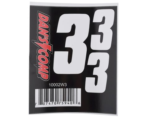 "Dan's Comp BMX Numbers (White) (2"" x 2, 3"" x 1) (3)"