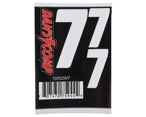 "Dan's Comp BMX Numbers (White) (2"" x 2, 3"" x 1) (7)"