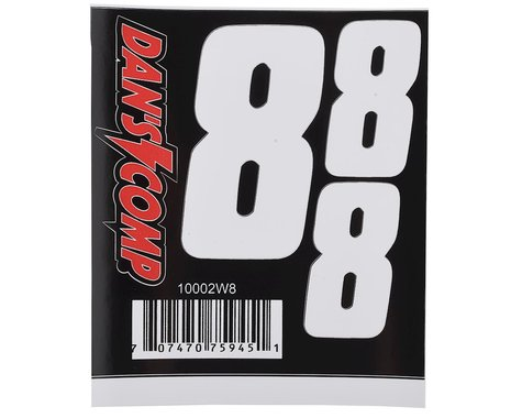 "Dan's Comp BMX Numbers (White) (2"" x 2, 3"" x 1) (8)"