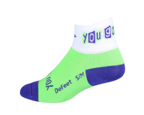 "DeFeet Women's Aireator You Go Girl 2"" Socks (Green/White)"