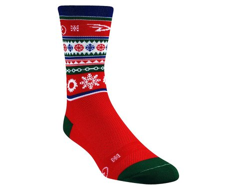 """DeFeet Aireator Christmas Sweater Socks -- 5"""" Cuff (Red/White/Green)"""