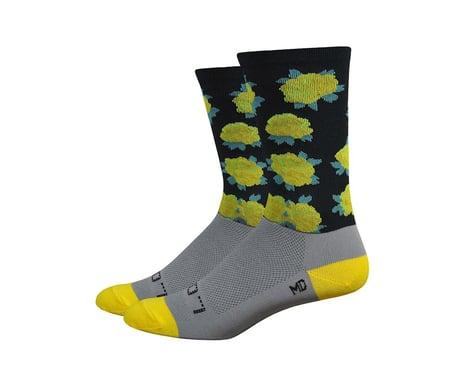 DeFeet Sako7 Yellow Roses Socks (Black And Gray With Yellow Roses)