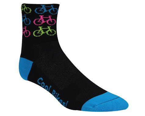 "DeFeet Aireator 3"" D-Logo Socks (Cool Bikes-Pink) (S)"