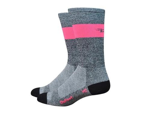 DeFeet Aireator SL Sock (Gray Heather/Flamingo Pink Stripe) (XL)