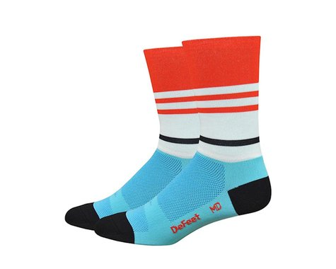"DeFeet Aireator 6"" Barnstormer Vintage Socks (Light Blue/Poinciana) (L)"