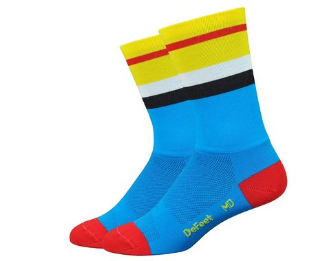"DeFeet Aireator 6"" Socks (Process Blue/Yellow) (XL)"
