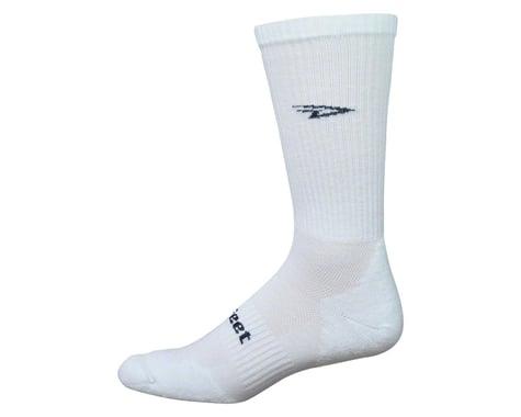 DeFeet D-Evo D-Logo Crew Sock (Solid White/Black) (XL)