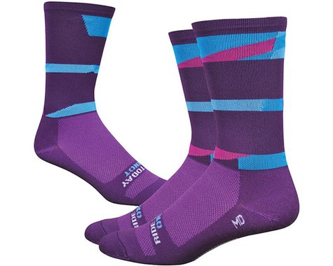 """DeFeet Wooleator 6"""" DNA Sock (Charcoal/Blue/Pink)"""