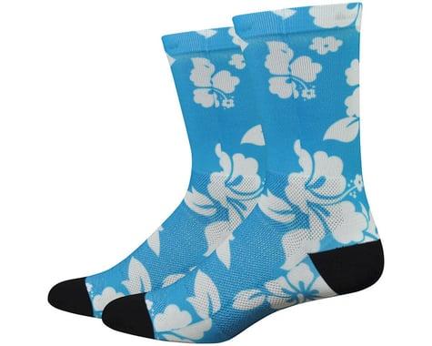 """DeFeet Levitator Lite 6"""" Aloha Sock (Light Blue/White)"""