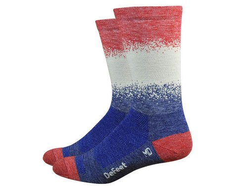 DeFeet Wooleator Karidescope Socks (Admiral Blue/Natural/Red) (XL)