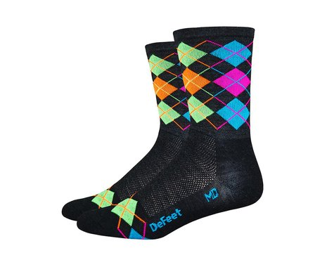 DeFeet Wooleator Hi-Top Sock (Argyle Charcoal/Orange/Blue/Green/Pink) (XL)