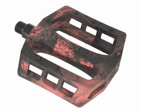 Demolition Trooper Plastic Pedals (Black/Red Swirl) (Pair)