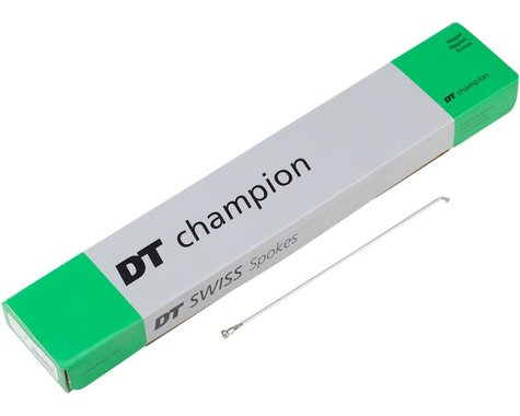 DT Swiss Champion 2.0 Blank Spokes: Straight Pull, 315mm, Threadless, Silver, Bo