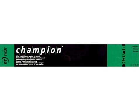 DT Swiss Champion 2.0 Blank Spokes: 315mm, Threadless, Black, Box of 100